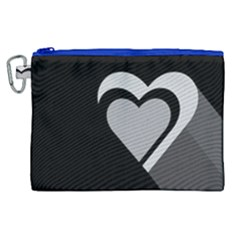 Heart Love Black And White Symbol Canvas Cosmetic Bag (xl) by Celenk