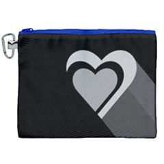 Heart Love Black And White Symbol Canvas Cosmetic Bag (xxl) by Celenk