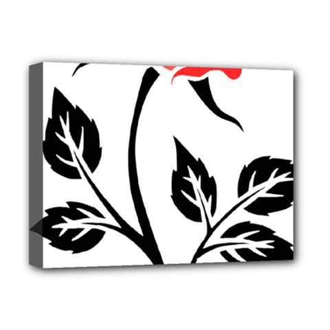 Flower Rose Contour Outlines Black Deluxe Canvas 16  X 12   by Celenk