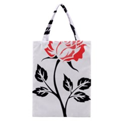 Flower Rose Contour Outlines Black Classic Tote Bag by Celenk