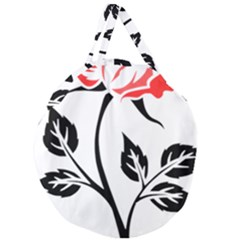 Flower Rose Contour Outlines Black Giant Round Zipper Tote by Celenk