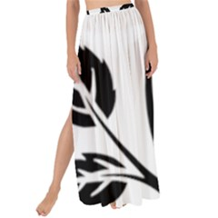 Flower Rose Contour Outlines Black Maxi Chiffon Tie Up Sarong by Celenk