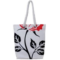 Flower Rose Contour Outlines Black Full Print Rope Handle Tote (small) by Celenk