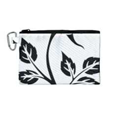 Flower Rose Contour Outlines Black Canvas Cosmetic Bag (medium) by Celenk