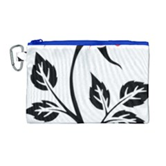 Flower Rose Contour Outlines Black Canvas Cosmetic Bag (large) by Celenk