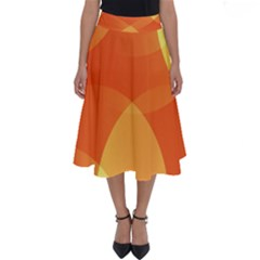 Abstract Orange Yellow Red Color Perfect Length Midi Skirt