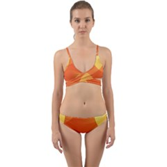 Abstract Orange Yellow Red Color Wrap Around Bikini Set