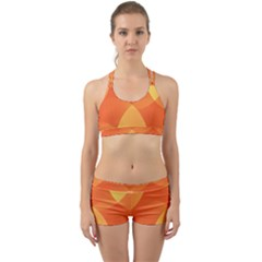 Abstract Orange Yellow Red Color Back Web Sports Bra Set