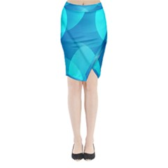 Abstract Blue Wallpaper Wave Midi Wrap Pencil Skirt