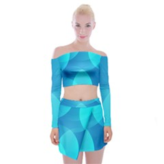 Abstract Blue Wallpaper Wave Off Shoulder Top With Mini Skirt Set by Celenk