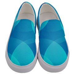 Abstract Blue Wallpaper Wave Men s Canvas Slip Ons