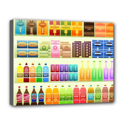 Supermarket Shelf Products Snacks Canvas 14  X 11