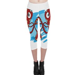 Octopus Sea Ocean Cartoon Animal Capri Leggings