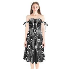Peacock Bird Animal Feather Shoulder Tie Bardot Midi Dress by Celenk