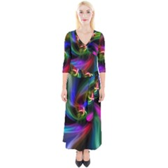 Peacock Bird Animal Feather Quarter Sleeve Wrap Maxi Dress