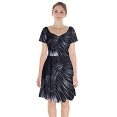Fractal Mathematics Abstract Short Sleeve Bardot Dress