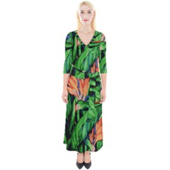 Flowers Art Beautiful Quarter Sleeve Wrap Maxi Dress by Celenk