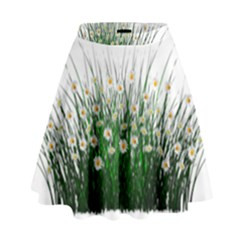 Spring Flowers Grass Meadow Plant High Waist Skirt