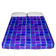 Background Mosaic Purple Blue Fitted Sheet (queen Size)