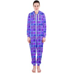 Background Mosaic Purple Blue Hooded Jumpsuit (ladies)  by Celenk