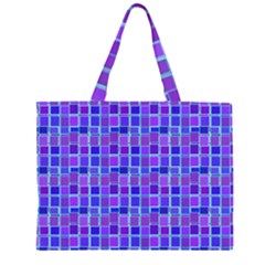 Background Mosaic Purple Blue Zipper Large Tote Bag by Celenk