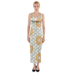 Stamping Pattern Fashion Background Fitted Maxi Dress