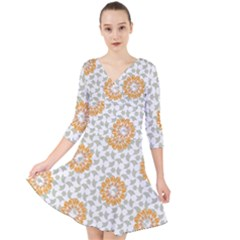 Stamping Pattern Fashion Background Quarter Sleeve Front Wrap Dress