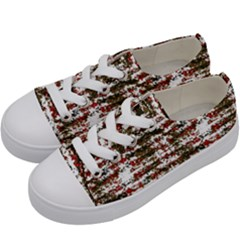 Grunge Textured Abstract Pattern Kids  Low Top Canvas Sneakers by dflcprints