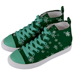 Template Winter Christmas Xmas Women s Mid Top Canvas Sneakers by Celenk