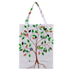 Tree Root Leaves Owls Green Brown Classic Tote Bag by Celenk