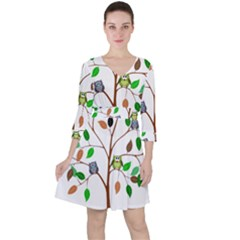 Tree Root Leaves Owls Green Brown Ruffle Dress