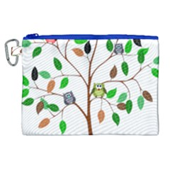 Tree Root Leaves Owls Green Brown Canvas Cosmetic Bag (xl) by Celenk