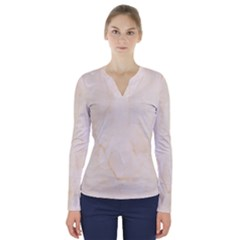 Rock Tile Marble Structure V Neck Long Sleeve Top
