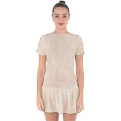 Rock Tile Marble Structure Drop Hem Mini Chiffon Dress by Celenk