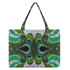 Fractal Art Green Pattern Design Zipper Medium Tote Bag by Celenk