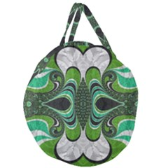 Fractal Art Green Pattern Design Giant Round Zipper Tote