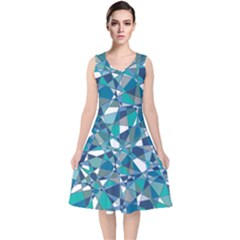 Abstract Background Blue Teal V Neck Midi Sleeveless Dress