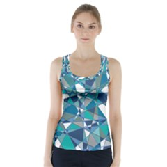Abstract Background Blue Teal Racer Back Sports Top