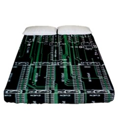 Printed Circuit Board Circuits Fitted Sheet (queen Size) by Celenk