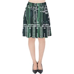 Printed Circuit Board Circuits Velvet High Waist Skirt