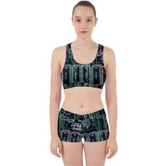 Printed Circuit Board Circuits Work It Out Sports Bra Set by Celenk