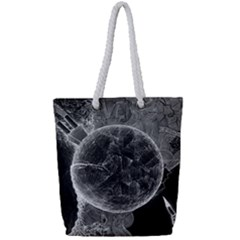 Space Universe Earth Rocket Full Print Rope Handle Tote (small)
