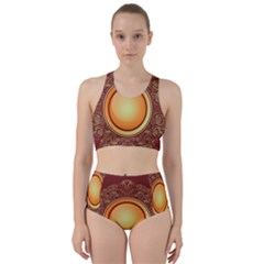 Badge Gilding Sun Red Oriental Racer Back Bikini Set