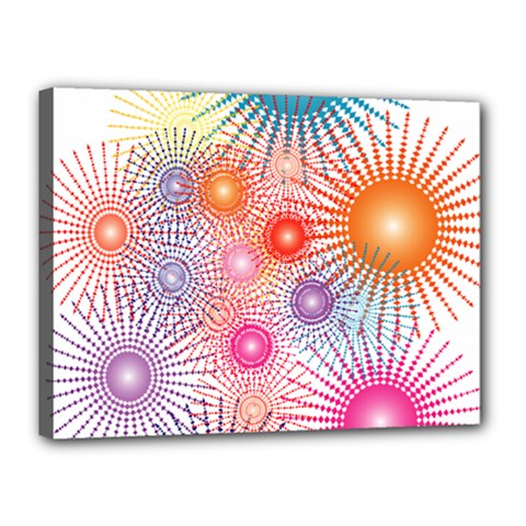 Stars Fireworks Colors Canvas 16  X 12