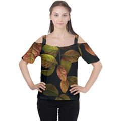 Autumn Leaves Foliage Cutout Shoulder Tee by Celenk