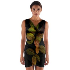 Autumn Leaves Foliage Wrap Front Bodycon Dress by Celenk