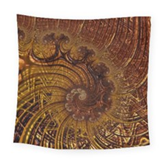Copper Caramel Swirls Abstract Art Square Tapestry (large)