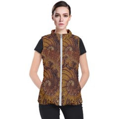 Copper Caramel Swirls Abstract Art Women s Puffer Vest