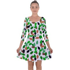 Leaves True Leaves Autumn Green Quarter Sleeve Skater Dress by Celenk