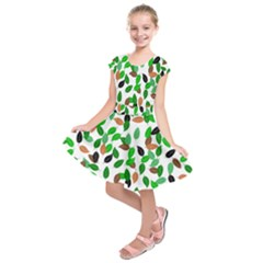 Leaves True Leaves Autumn Green Kids  Short Sleeve Dress by Celenk